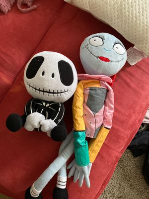Nightmare before Christmas jack and sally plush for Sale in Houston, TX