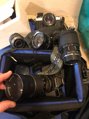 Camera lenses and 3 film cameras for Sale in Seattle, WA