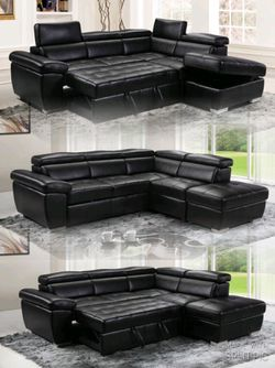 BRAND NEW BLACK SECTIONAL W/ OTTOMAN for Sale in Swansea,  IL