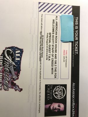 2 VIP Tickets for Scott Stapp of Creed at the All American Rock House Findlay Oh for Sale in Findlay, OH