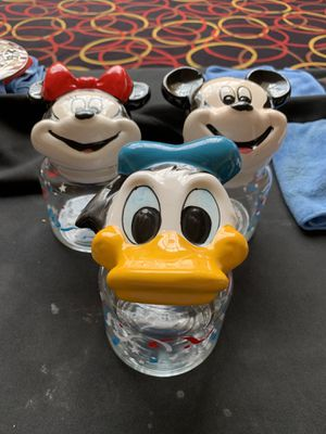 Vintage Mickey Mouse ,Minnie Mouse & Donald Duck Jar Toppers Walt DisneyCompany for Sale in Columbia, MD