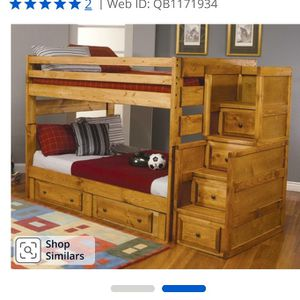 Bunk Bed Used Full over Full Wood W/Stairs for Sale in Coarsegold, CA
