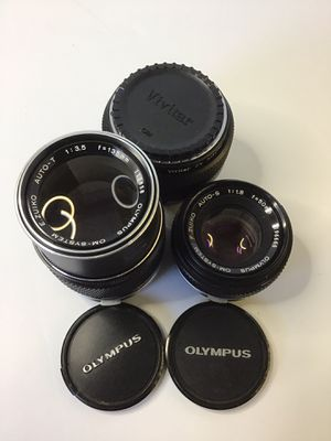 Lot of Olympus OM System Zuiko lenses. 135mm & 50mm for Sale in Portland, OR