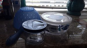 Strainer and 1 container and glass sugar bowl for Sale in Federal Way, WA