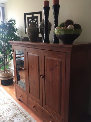 Wood entertainment cabinet for Sale in St. Louis Park, MN
