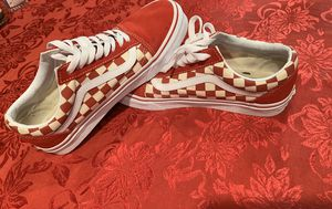 Size 8.5 women's 7 men's Red and White checkered Vans for Sale in Greensboro, NC