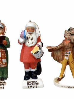 Lot of 3 beautiful vintage Norman Rockwell Figurines Christmas ornaments. Caroler, Santa and Tiny Tim for Sale in Longwood,  FL