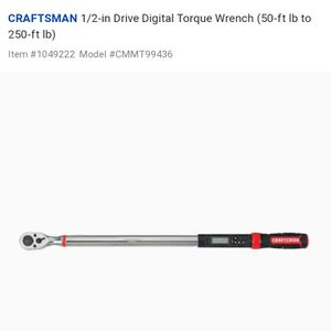 1/2-in Drive Digital Torque Wrench (50-ft lb to 250-ft lb) for Sale in Arvin, CA