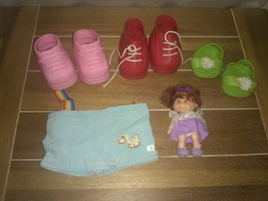 Vintage Lot of Cabbage Patch Kids Shoes, Shorts and Small Doll for Sale in Clarksville, TN