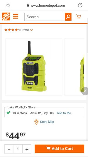 🔥🔥 RYOBI 18V COMPACT RADIO with BLUETOOTH. (tool only) for Sale in Saginaw, TX