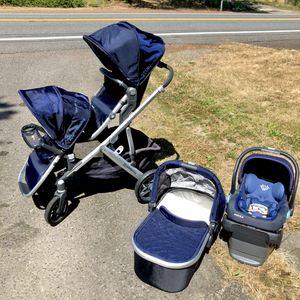 Uppabbay Vista Double Stroller Bassinet Car seat Set Taylor Blue for Sale in Tukwila, WA