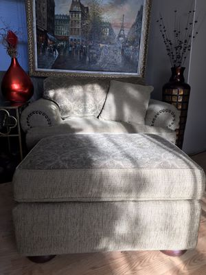 Oversized Armchair with ottoman for Sale in Portland, OR