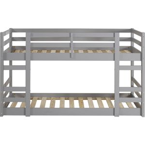 Walker Edison Furniture Company Wood Twin Bunk Kids Bed Bedroom with Guard Rail and Ladder, Grey for Sale in San Jose, CA