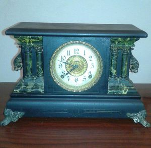 Antique Elias Ingraham Adrian Green Marbled Wound Mantle Clock Featuring Ornate Gold Tone Accents With Time Strike Gongs for Sale in Houston, TX