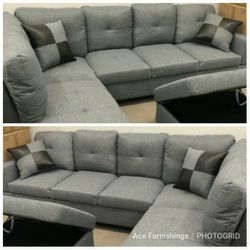 Brand New Grey Denim Linen Sectional With Storage Ottoman for Sale in Orting,  WA
