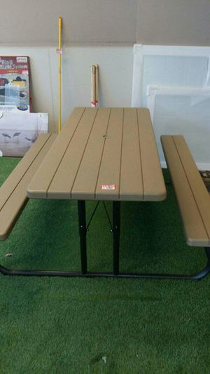 Lot 139, New foldable tables in stock 6 ft. Heather Beige Folding patio furniture Picnic Tables only few left get yours today for Sale in Sumner, WA