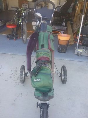 Speed cart golf bag holder and accessories for Sale in Rosamond, CA