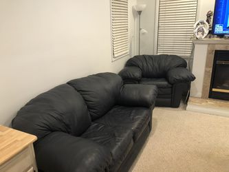 3 piece Navy Leather set. Sleeper Sofa, Love seat and chair along with foot rest for Sale in Northville,  MI