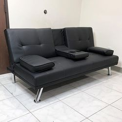 """(NEW) $190 Futon Sofa Bed Convertible Recliner Couch Living Room Furniture, Cup Holder (66x32x28"""") for Sale in El Monte,  CA"""