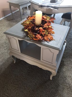 Firm on price. Light gray soft white farmhouse chic end table for Sale in Menifee, CA