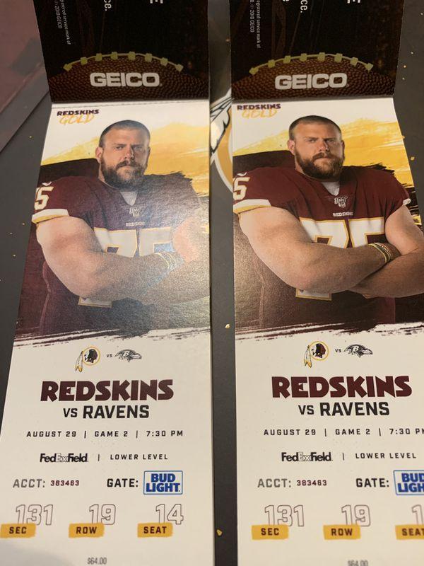 Redskins vs Ravens Tickets (2)