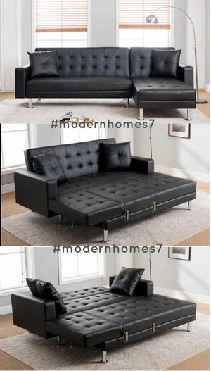Black leather sectional sofa with chaise launge convertible sleeper couch for Sale in Buena Park, CA