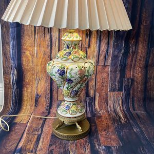 Vintage Decor Lamp Working Porcelain Ceramic 1940's Victorian Hand Painted Lamp Floral Pattern Gold Brass Base for Sale in Miami, FL