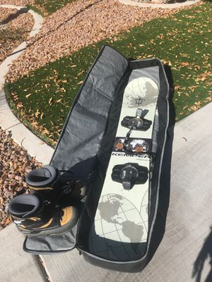 Kemper Orbitseries 156 Snowboard with Bindings Boots and Carrying Bag for Sale in Las Vegas, NV