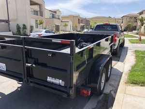 Dump Trailer 8' ft W x 12' ft L with braking system, with ramps included for bobcat for Sale in Santa Ana, CA