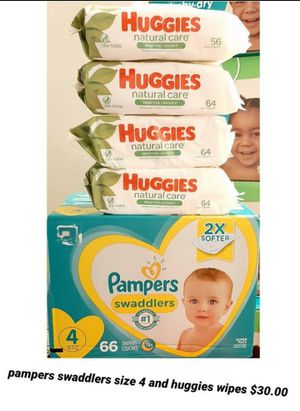 Pampers swaddlers size 4 and Huggies wipes for Sale in Los Angeles, CA