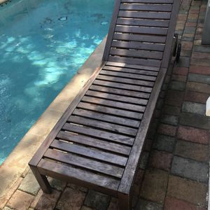 IKEA Wood Slatted Outdoor Reclining Chaise Lounge Chair w/Wheels for Sale in Miami, FL