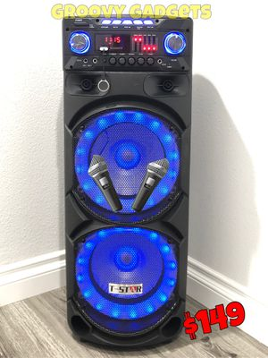 2 Wireless 🎤 Included • Mucho Party 🌟 Bluetooth - Usb - Aux - Radio • Karaoke 🌟 9,000 Watts* of Music & Bass for Sale in Carson, CA