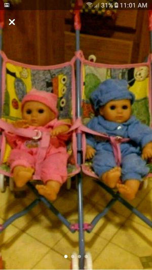 Collector's Twin babies with twin stroller for Sale in Wichita, KS