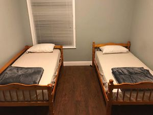 Brand New 2 Matching Honey Oak Twin Size Platform Beds(No Mattress) for Sale in Wheaton-Glenmont, MD