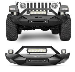 Nilight JK-56A 18-20 Front Bumper w/Winch 1X 72W bar & 2 x 18W LED Work Light Pod & License Plate Bracket for 2018+ Jeep Wrangler JL Upgraded Textured for Sale in Romeoville,  IL