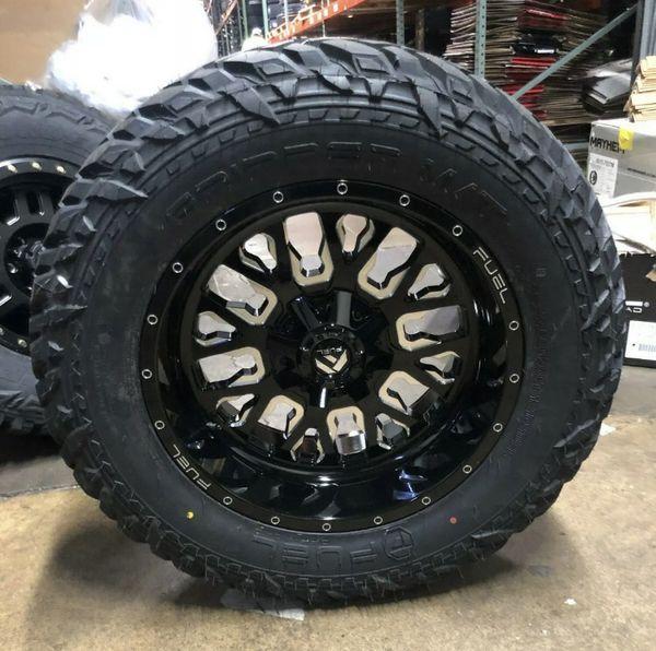 """20x10 Fuel D611 Stroke Black Wheels Rims MT 35"""" Tires 5x5 Jeep Wrangler JK JL"""