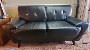 MCM Sofa and Love seat. Black artificial leather for Sale in Plant City, FL