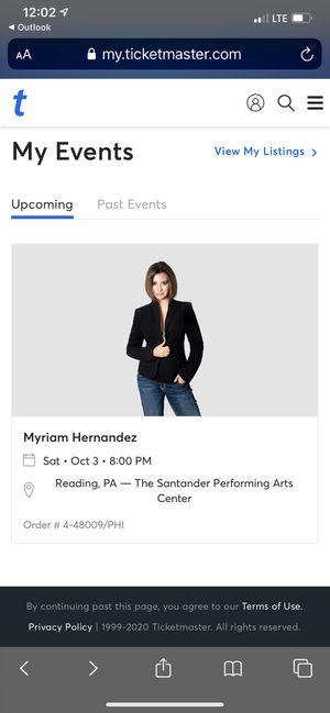 Myriam Hernandez Concert Oct 03rd for Sale in Reading, PA