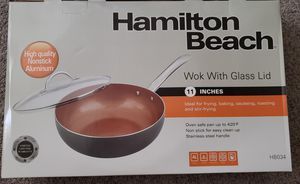 New Copper Non Stick Wok Pan w/glass lid for Sale in Lakeside, CA