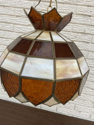 """15"""" Vintage STAINED SLAG GLASS HANGING Lamp Tiffany Style Light Chandelier for Sale in Kansas City, MO"""