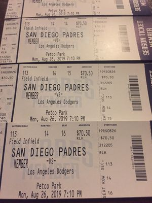 Dodgers vs Padres August 26th for Sale in San Diego, CA