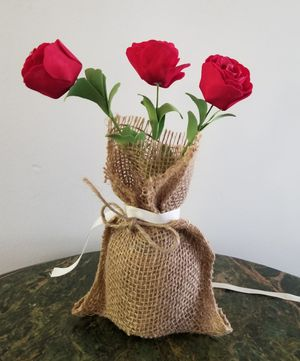 Decorative burlap sack handmade pot flower for Sale in Monrovia, CA