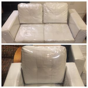 2 piece leather couch set. 1 loveseat and an individual chair white. for Sale in The Bronx, NY