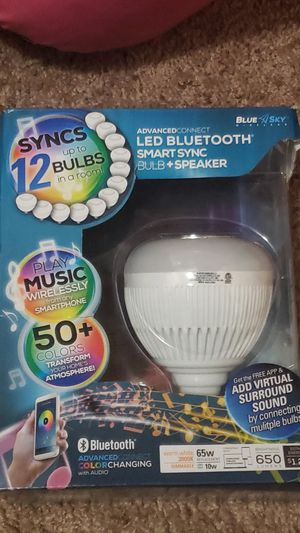 Blue sky, light bulb with 50+ colors and speaker. for Sale in St. Peters, MO