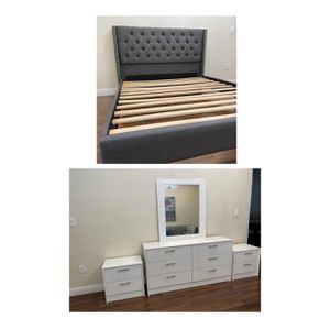 New queen Grey nailhead bed frame mirror dresser and nightstands mattress is not included for Sale in Hollywood, FL