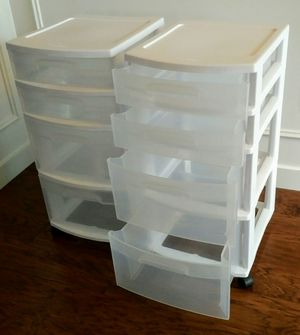 Set of TWO Sterlite 4-drawer Plastic Storage Cases with caster wheels for Sale in Orting, WA