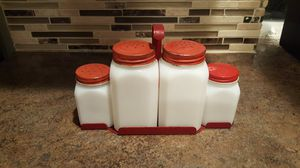 Vintage Milk Glass Shaker Set With Mountable Rack for Sale in Liberty Lake, WA