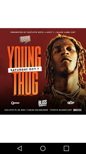 Young Thug Live at Bliss Nightclub for Sale in Washington, DC