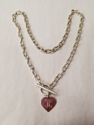 "STERLING TOGGLE HEART TAG NECKLACE ""R"" MONOGRAM for Sale in Concord, MA"