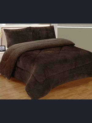 Brand New Brown Warm Super Thick Soft Borrego Sherpa Quilted Blanket 3 Piece Set with Pillow Shams King Size for Sale in Los Angeles, CA